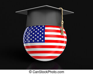 Graduation cap and USA flag. Image with clipping path