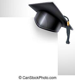 Graduation cap - Black graduation cap with black and gold...