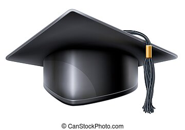 Graduation cap - Black graduation cap with black and gold...