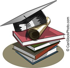 Graduation cap, books and diploma