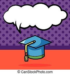 graduation cap color doodle