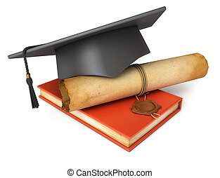 Graduation cap, diploma and red book