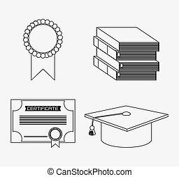 graduation cap diploma seal book icon. Vector graphic