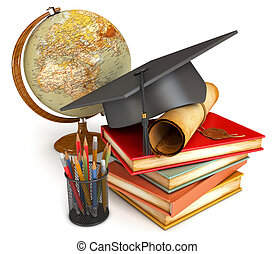 Graduation cap, diploma, stack of books, globe, and various ...