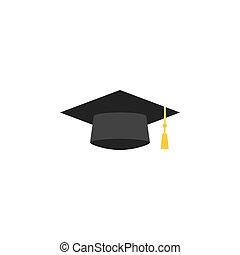 Graduation cap flat icon, education high school