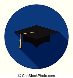 Graduation cap flat icon on blue background