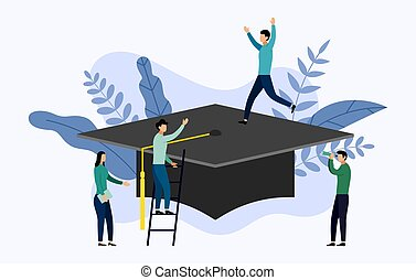Graduation cap flat style with human concepts, education vector illustration