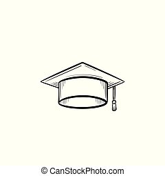 Graduation cap hand drawn sketch icon.