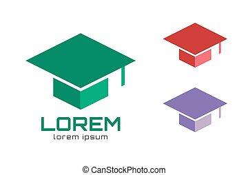 Graduation cap hat logo icon template. College, university, school icons