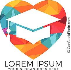 Graduation cap heart shape vector logo design. - Education...