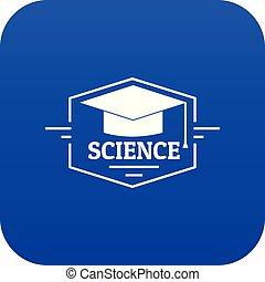 Graduation cap icon blue vector