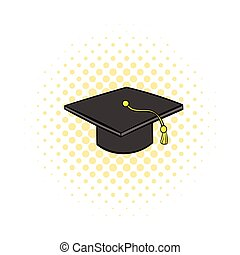 Graduation cap icon, comics style