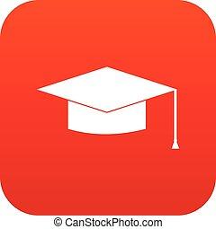 Graduation cap icon digital red