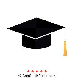 Graduation cap icon . Flat style