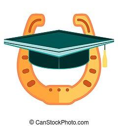 Graduation cap icon, Gold Horseshoe