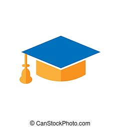 Graduation cap icon in flat style. Education hat vector illustration on white isolated background. University bachelor business concept.