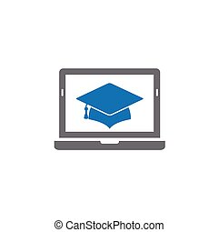 Graduation cap icon. online education icon