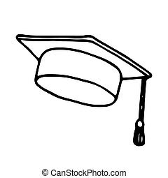Graduation cap icon. Outlined on white background.