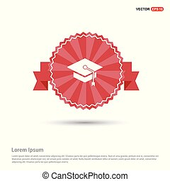Graduation cap icon - Red Ribbon banner