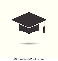 Graduation cap icon - simple flat design isolated on white background, vector