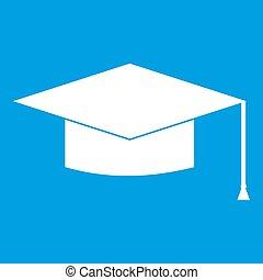 Graduation cap icon white