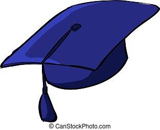 Graduation cap, illustration, vector on white background.