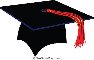 Graduation CAp - a black graduation cap with red tassel