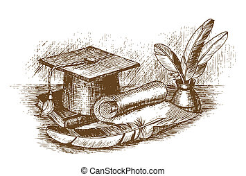 Graduation cap, inkstand with feathers and scroll draw by...