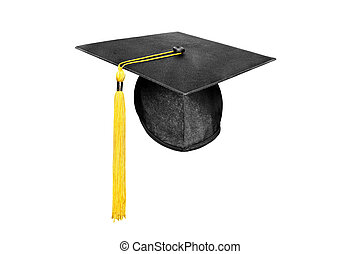 Graduation cap isolated on white - A new mortar board ...