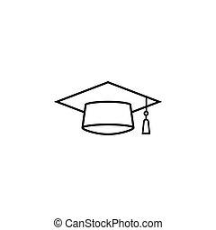 Graduation cap line icon, education high school