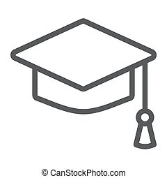 Graduation cap line icon, school and education