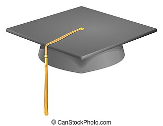 Graduation cap mortarboard - Vector illustration of a mortar...