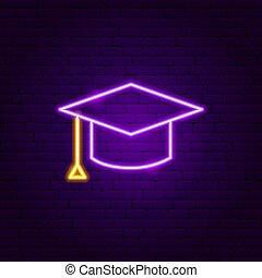 Graduation Cap Neon Label