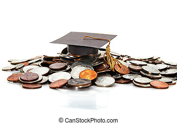 graduation cap  on a pile of money ( student debt )