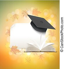 Graduation cap on autumn background with a book. Back to school concept. Vector.