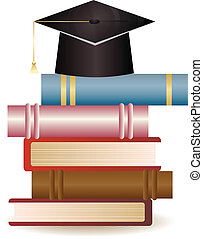 Graduation Cap on Book Stack