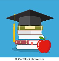 Graduation cap on books stacked,