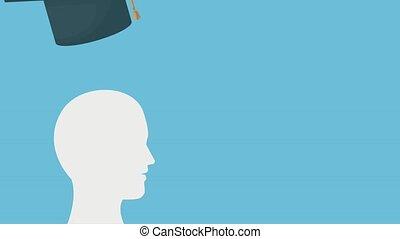 Graduation cap on head HD animation - Graduation cap putting...