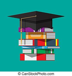 Graduation cap on stuck of books. Academic and school...