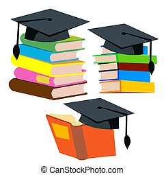 Graduation Cap On Top Of A Stack Of Books Vector. Isolated Illustration