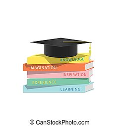 Graduation cap on top stack books white background. Education Graduation Concept.