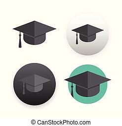 Graduation cap on white