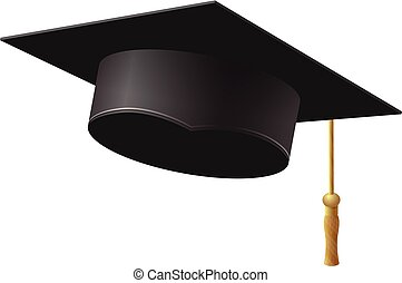 Graduation cap on white background, vector illustration.