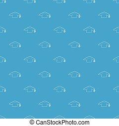 Graduation cap pattern vector seamless blue