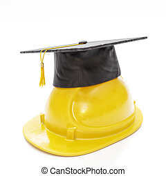 Graduation Cap Resting on Hard Hat - 3D Illustration