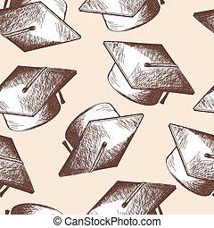 Graduation cap seamless pattern - Graduation cap seamless...