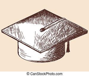 Graduation cap sketch. EPS 10 vector illustration without...