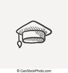 Graduation cap sketch icon