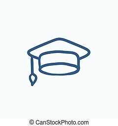 Graduation cap sketch icon.