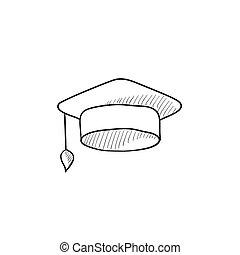 Graduation cap sketch icon.